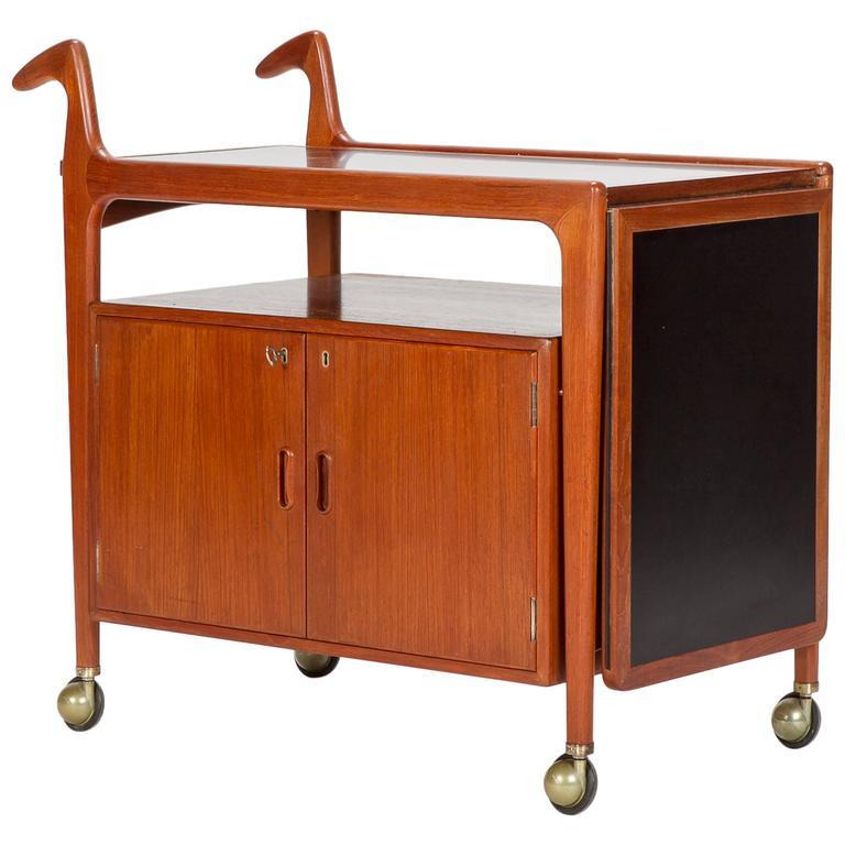 Danish Teak Bar Cart By Falster Mobelfabrik 1960 At 1stdibs