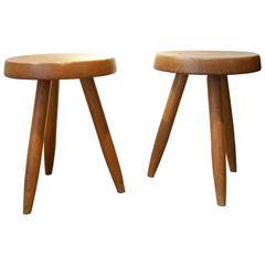 Charlotte Perriand, Pair of Wooden Stools