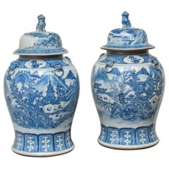 Pair of 19th Century Chinese Blue and White Porcelain Cap Jars, circa 1825