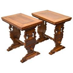 Pair of Italian Walnut Side Tables, circa 1920