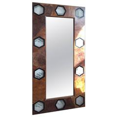 1930s Style Mirror with Rare Veneers and Solid Quartz Hexagonal Plaques