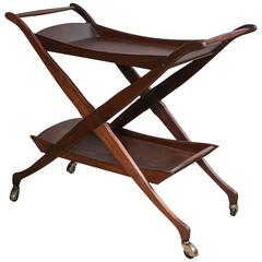 Cesare Lacca Style Walnut Rolling X-Form Bar Cart