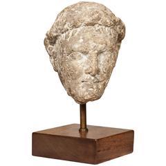 Hellenistic Cypriot Votive Limestone Statue Head