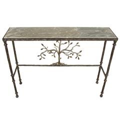 Giacometti Style Console Table with Silver Limestone Top