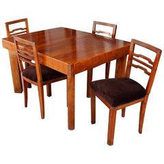 French Art Deco Dining Set with Butterfly Leaf Mechanism