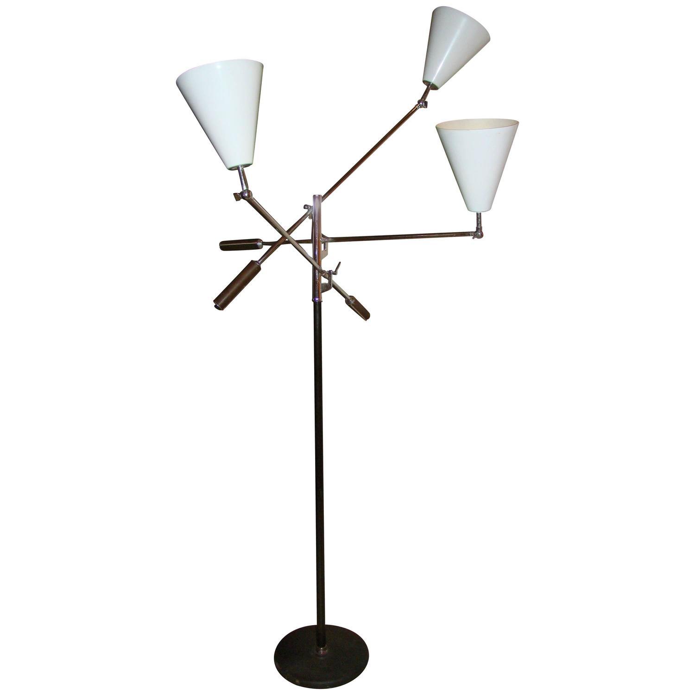 arredoluce style triennale three arm floor lamp at 1stdibs. Black Bedroom Furniture Sets. Home Design Ideas
