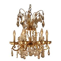 French Crystal and Bronze Chandelier by Maison Baguès