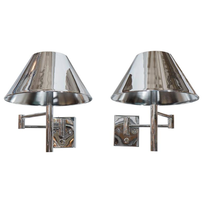 Pair of Casella Articulated Wall Lights with Tole Empire Shades in Chrome at 1stdibs