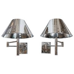 Pair of Casella Articulated Wall Lights with Tole Empire Shades in Chrome
