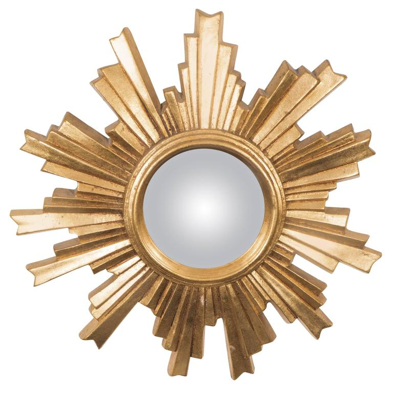 German 1960s Convex Mirror with Giltwood Sunburst Frame