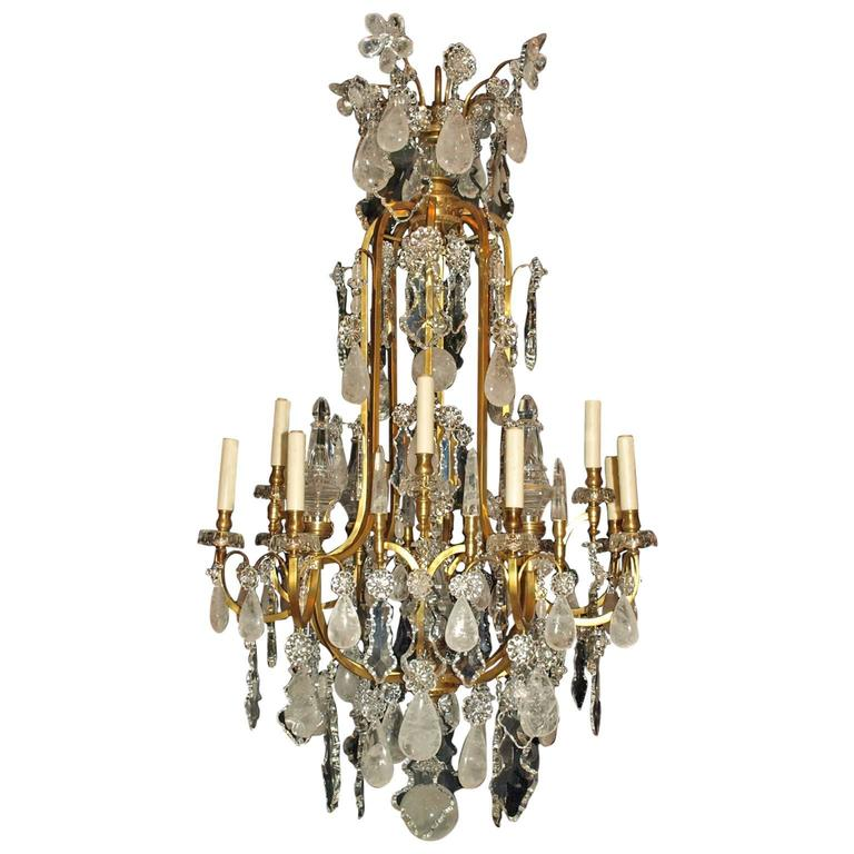 Antique Chandelier. Rock Crystal Chandelier by Baccarat For Sale - Antique Chandelier. Rock Crystal Chandelier By Baccarat For Sale At