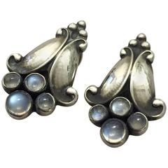 Georg Jensen Sterling Silver and Moonstones Earclips