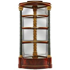Important Early 19th Century German Neoclassical Corner Display Cabinet
