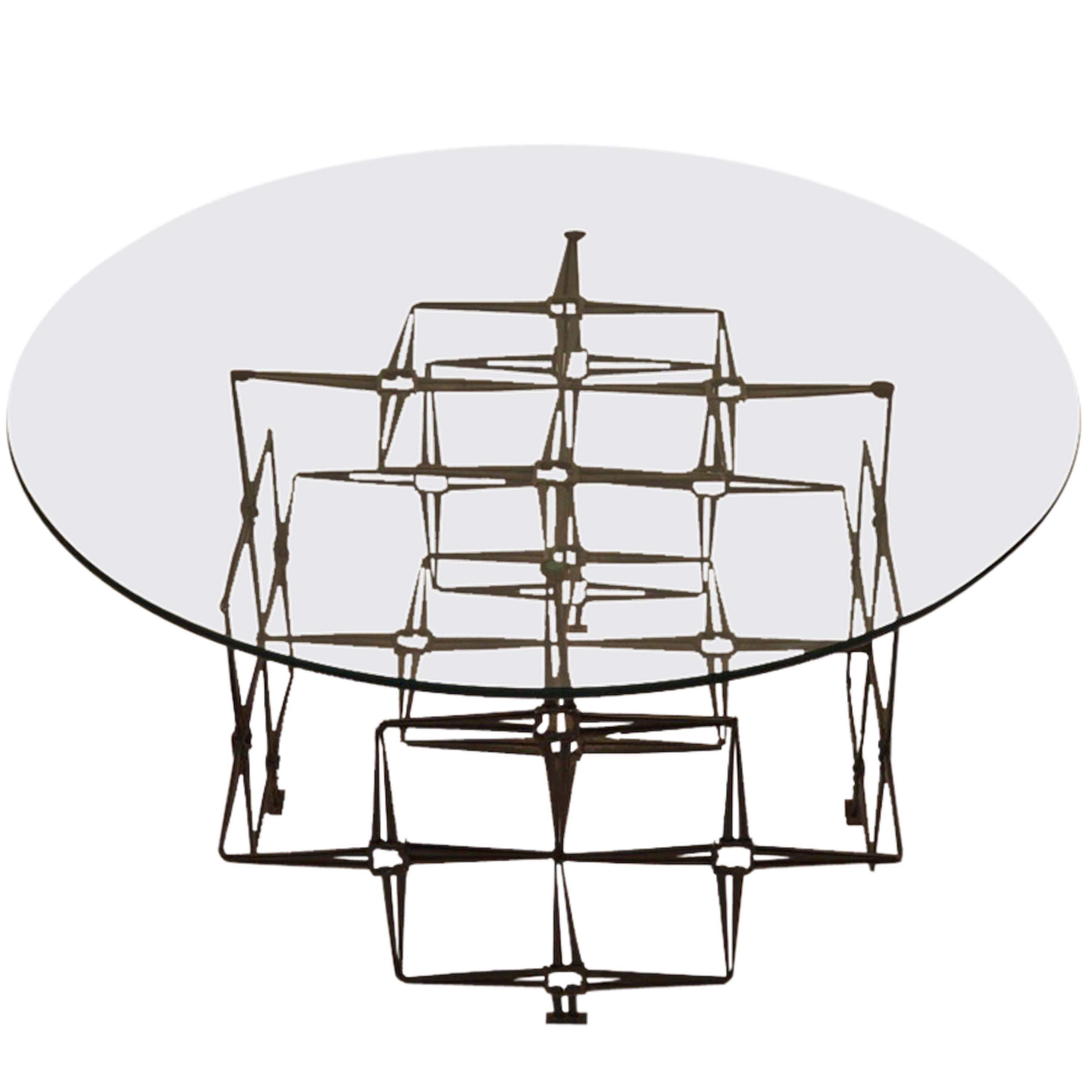 Brutalist Welded Nail Base Plate Glass-Top Coffee Cocktail Table