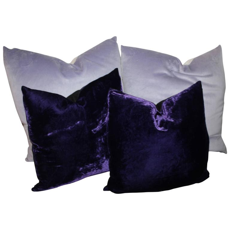 Purple Velvet Decorative Pillows : Purple and Lavender Velvet Pillows For Sale at 1stdibs