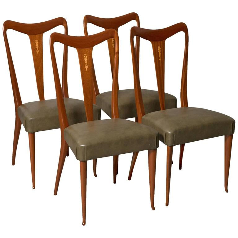 Four Elegant Italian Moderne Dining/Side Chairs For Sale