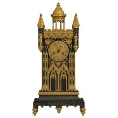 French 19th Century Bronze and Ormolu Gothic Cathedral Clock
