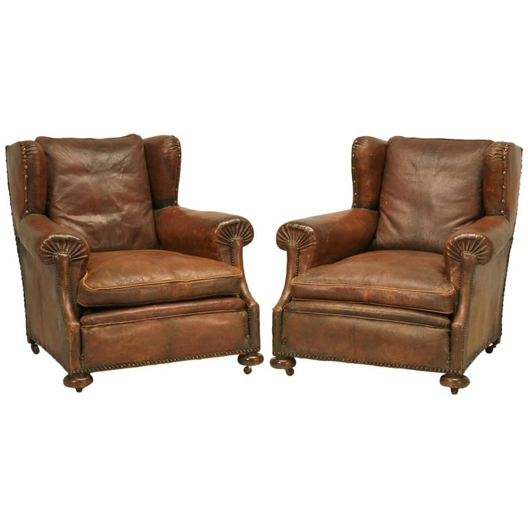 French Leather Club Chairs At 1stdibs