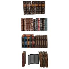 Large Grouping of Leather Bound Gold Leaf Hardcover Books
