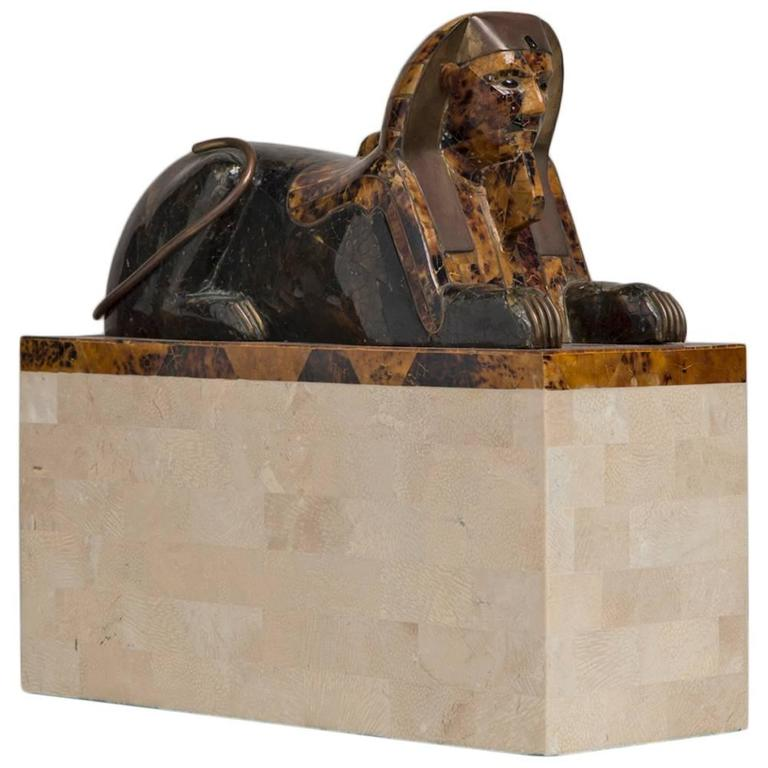 Maitland Smith Tessellated Stone Veneered Sphinx Sculpture, 1970s For Sale