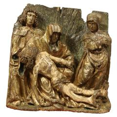 Gothic Flemish Carved Group Representing the Lamentation