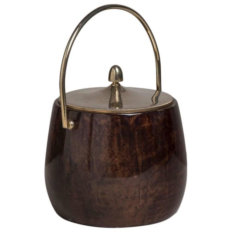 Brown Lacquered Goatskin Aldo Tura Ice Bucket, 1960s