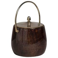 Brown Lacquered Goatskin Aldo Tura Ice Bucket, 1960s