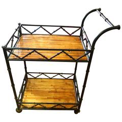 Fabulous and Rare Black Iron and Rattan Bar Cart