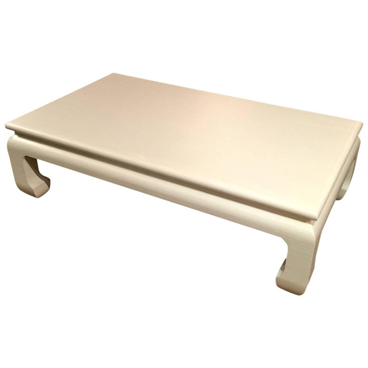 Very Large Linen Wrapped Karl Springer Style Coffee Table At 1stdibs