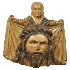 Wooden Bas Relief of St. Veronica Holding her Veil with Christ's Face