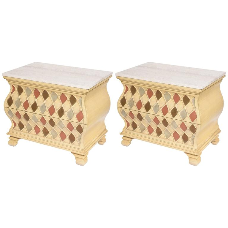 "Pair of ""Harlequin"" Bombay Chests, Travertine Tops For Sale"