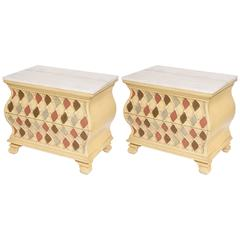 "Pair of ""Harlequin"" Bombay Chests with Travertine Tops, Hollywood Glam"
