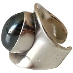 Bent Knudsen Sterling Silver Ring with Hematite Stone