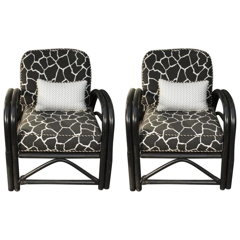 Pair of 1960s Outdoor Art Deco Painted and Bent Bamboo Armchairs Giraffe Fabric