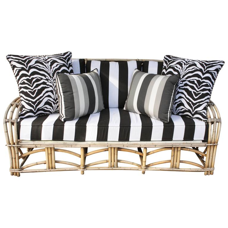 1960s Modern Bent Bamboo High Life Outdoor Three-Seat Sofa, Bengal Stripe Fabric For Sale