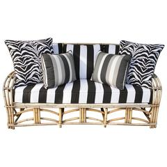 1960s Modern Bent Bamboo High Life Outdoor Three-Seat Sofa, Bengal Stripe Fabric