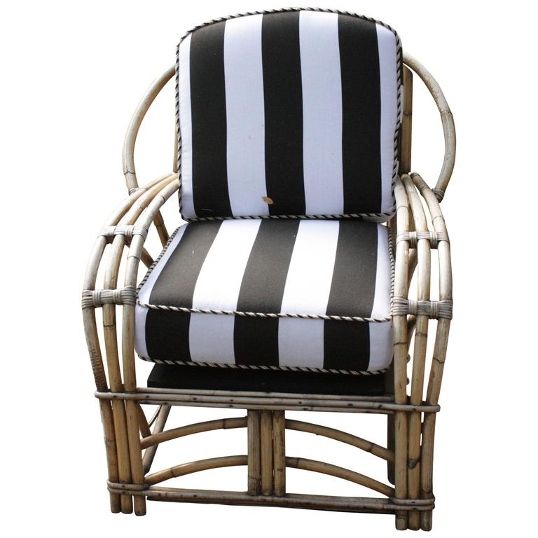1960s Outdoor Bamboo Framed Armchair with Round Back Arms Bengal Striped Cushion For Sale