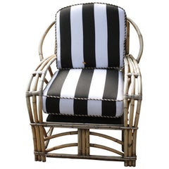 1960s Outdoor Bamboo Framed Armchair with Round Back Arms Bengal Striped Cushion