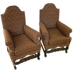 19th century Jacobean Revival Style Chair, Pair