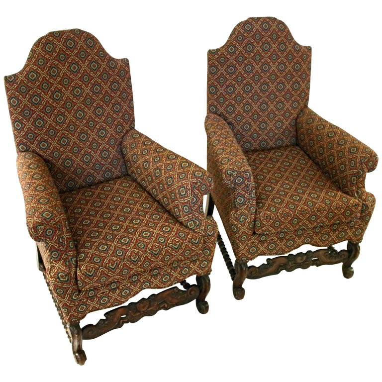 19th Century Jacobean Revival Style Chair Pair For