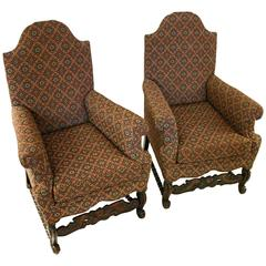 19th Century Jacobean Revival Style Chair, Pair