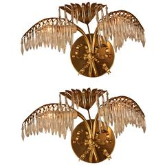 Pair of Petite Bronze and Crystal Palm Tree Wall Sconces by Bagues