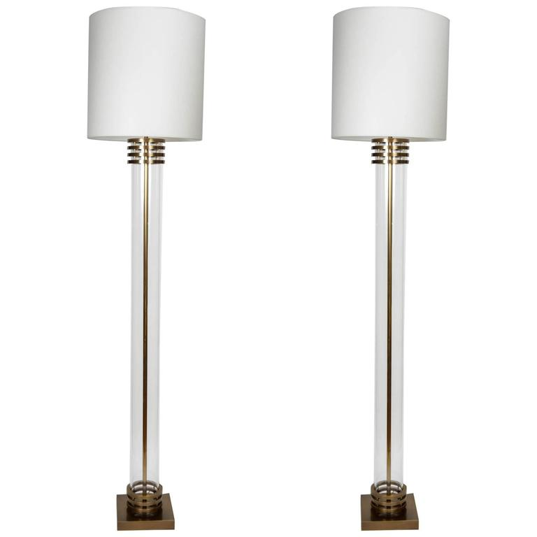 Pair of Bronze and Glass Floor Lamps