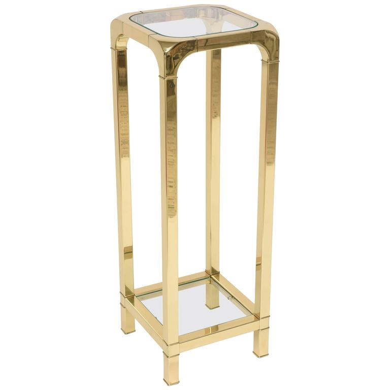 Polished Brass and Glass Pedestal, Mastercraft, American, 1970s-1980s