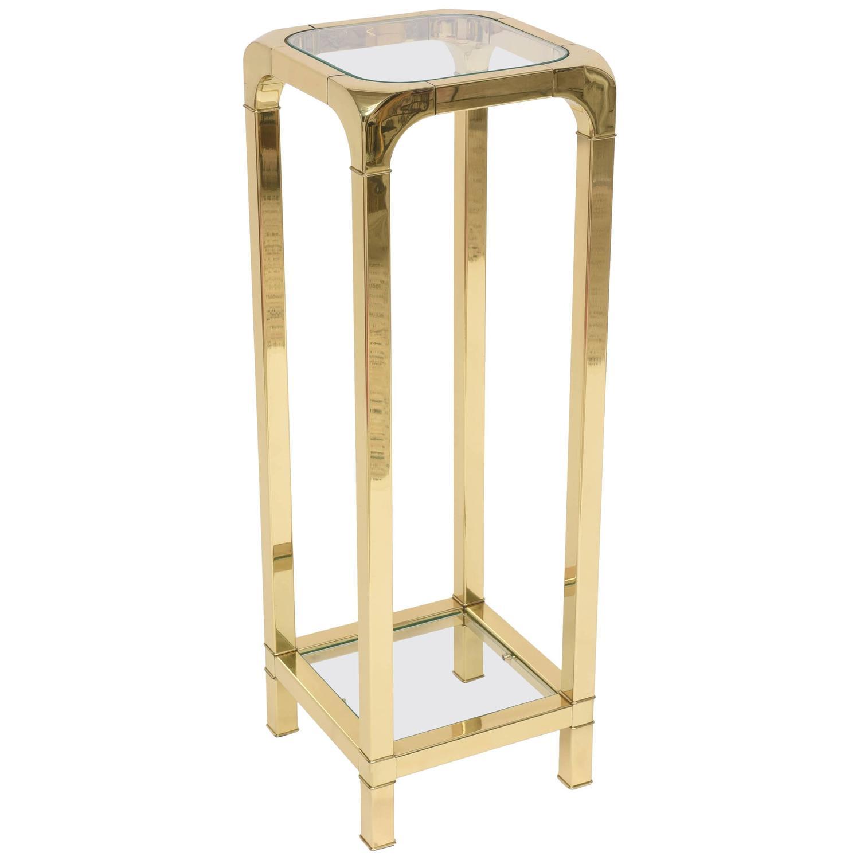 Polished Brass and Glass Pedestal Mastercraft American