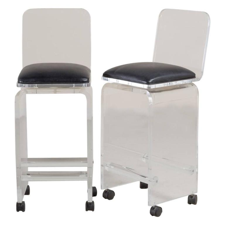 Pair of Lucite Faux Leather Swivel Bar Stools, 1980s