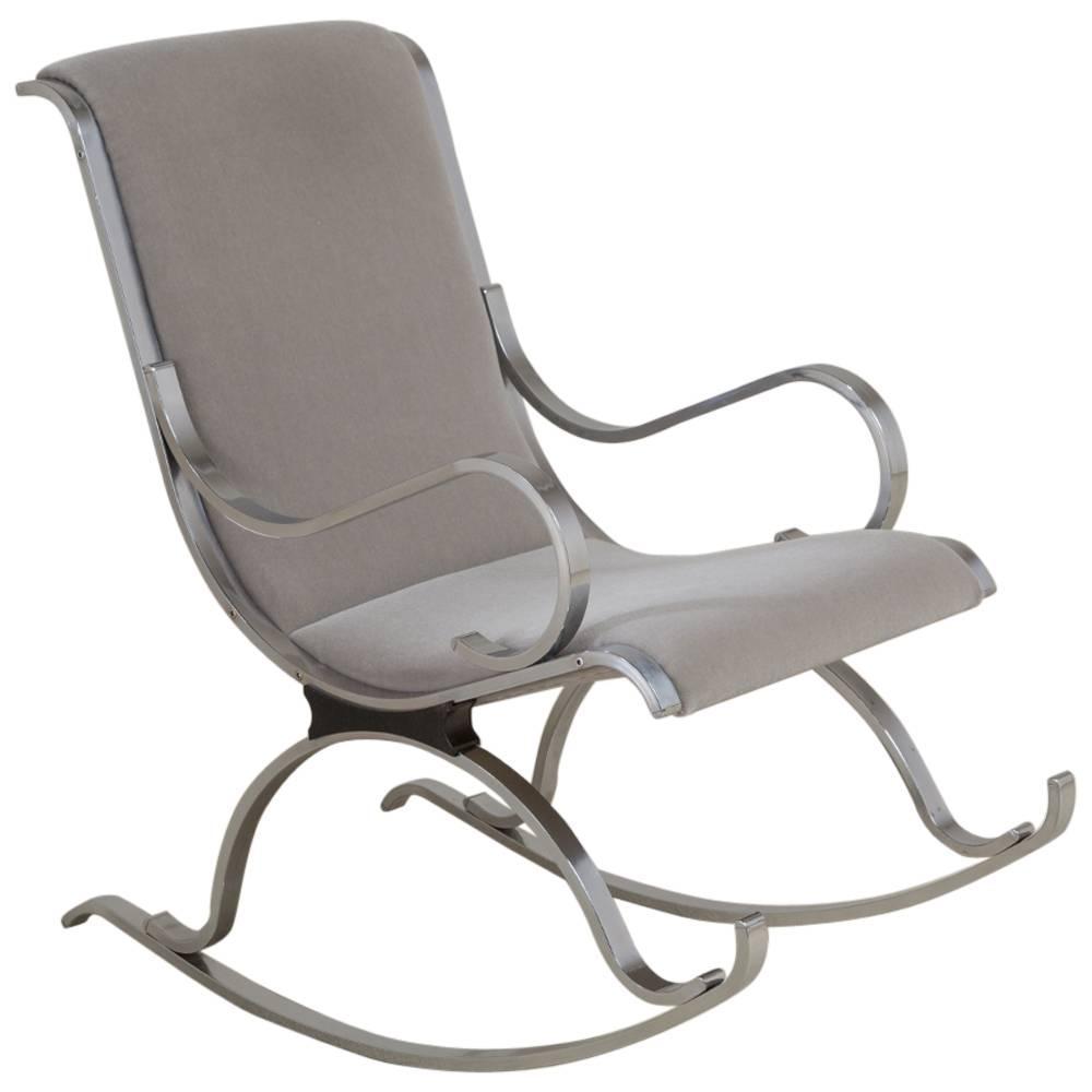 Chrome Framed Mohair Upholstered Rocking Chair 1970s For
