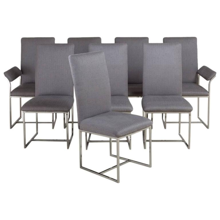 Set of Eight Nickel Framed Dining Chairs by Milo Baughman