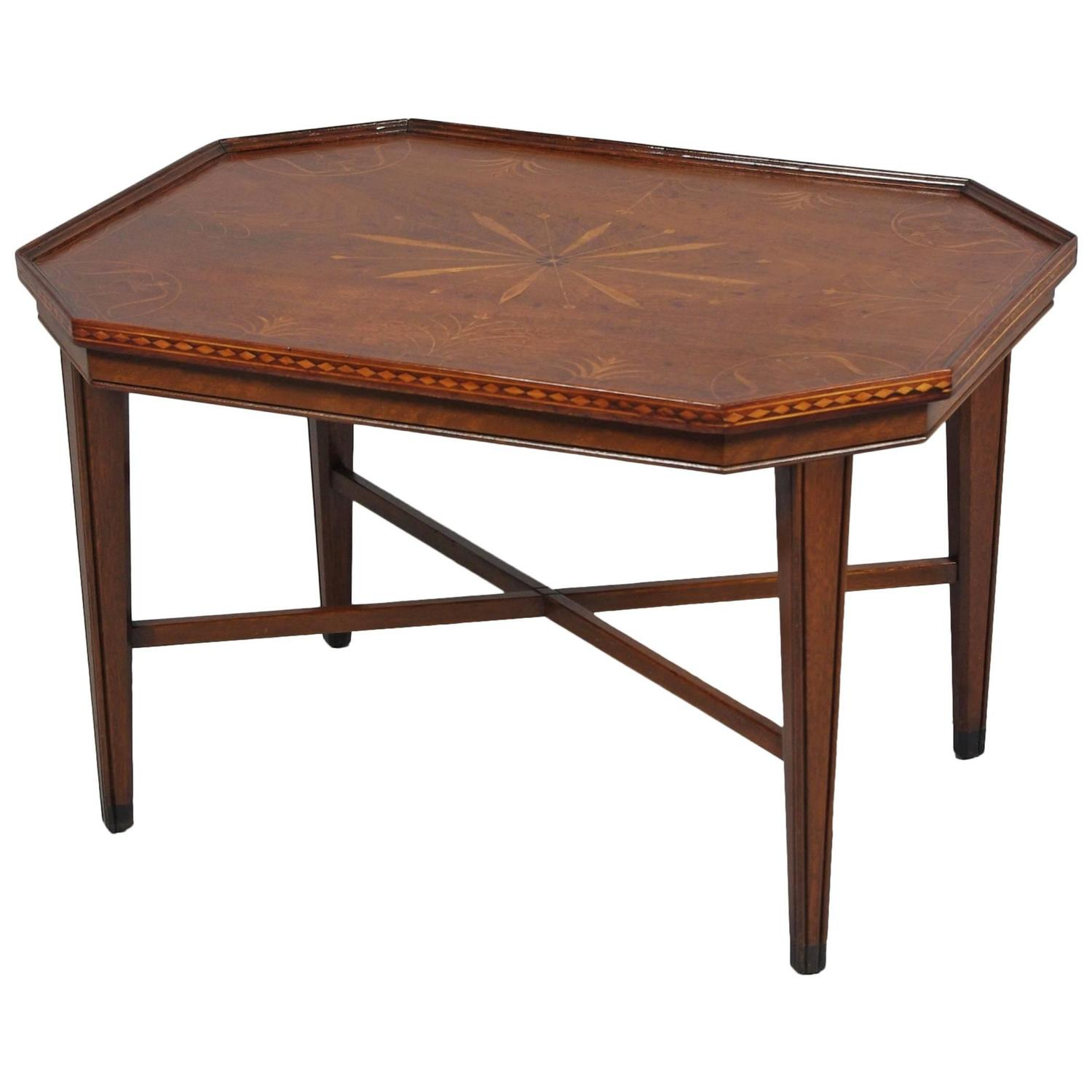 Delightful Inlaid Walnut Coffee Table At 1stdibs