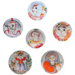 Assorted Ceramic Italian Plates by Giovanni Desimone
